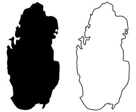 Simple (only sharp corners) map - State of Qatar vector drawing. Mercator projection. Filled and outline version.
