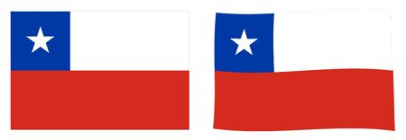 Republic of Chile flag. Simple and slightly waving version.
