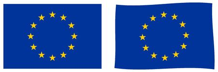European Union (EU) flag. Simple and slightly waving version.