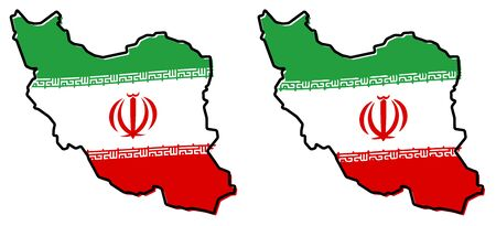 Simplified map of Iran (Persia) outline, with slightly bent flag under it. (Two versions, one with simpler coat of arms and arabic text)