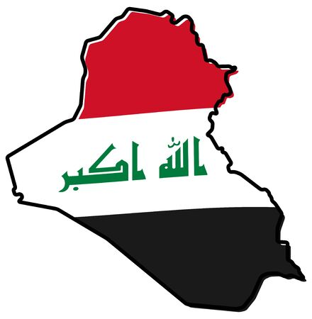 Simplified map of Iraq outline, with slightly bent flag under it. 向量圖像