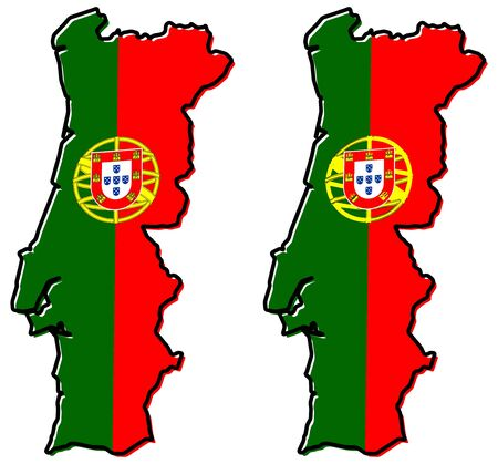 Simplified map of Portugal outline, with slightly bent flag under it. (Two versions, one with simpler coat of arms)
