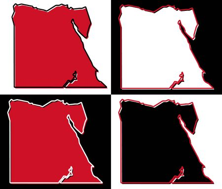 Simplified map of Egypt outline. Fill and stroke are national colours.
