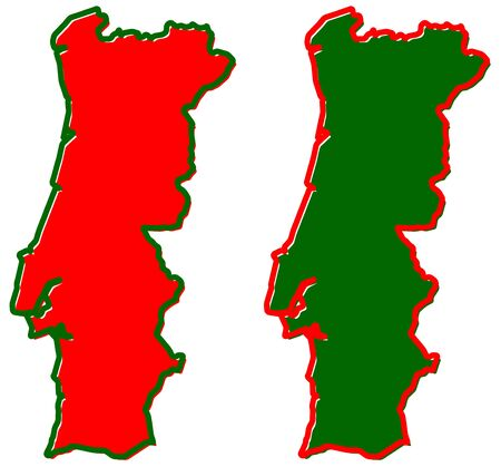 Simplified map of Portugal outline. Fill and stroke are national colours. 向量圖像