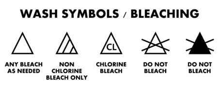 Simboli per lo sbiancamento del bucato. Icone per diversi tipi di candeggina per indumenti. Vettoriali