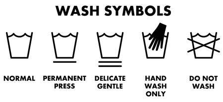 Laundry washing symbols, icons for different type of wash.