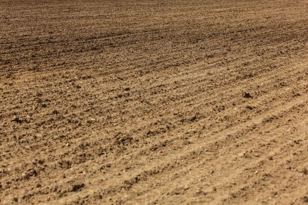 Freshly ploughed field, lines from plow visible in ground. Abstract agriculture background.
