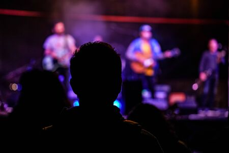 Silhouette of young man at music gig, view from behind, blurred musicians with guitars in background