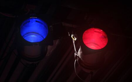 Blue and red reflector light used in theatre Stok Fotoğraf - 129974295