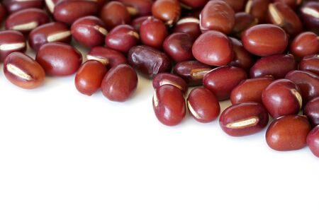 Pile of dried red beans isolated on white background. Banco de Imagens