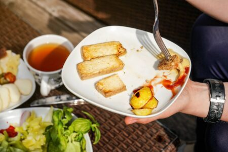 Woman hand holding fork and plate with grilled potatoes, and tofu soy bean curd with ketchup and mustard - vegetarian barbecue grilling. Banco de Imagens