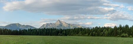 Panorama of High Tatras with prominent mount Krivan peak Slovak symbol in centre, meadow and coniferous trees forest at foreground.