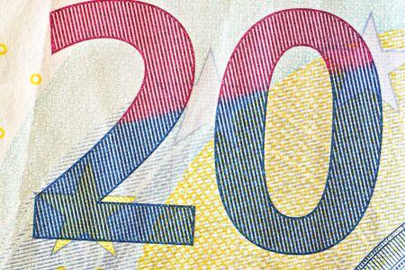 Number 20 on twenty euro banknote, closeup detail. Banco de Imagens