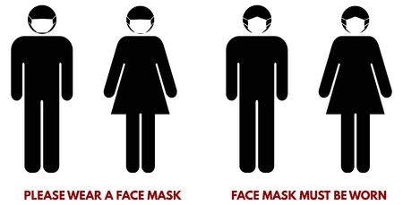 Please wear face nose mouth mask sign. Man and woman silhouette with piece of cloth over their faces. Symbol can be used during coronavirus or covid outbreak