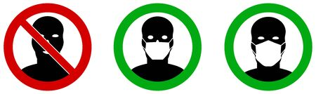No entry without / please wear face mouth mask icon. Sign can be used during coronavirus covid19 outbreak prevention 일러스트