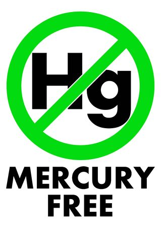 Mercury free icon. Letters Hg (chemical symbol) in green crossed circle, with text under.  イラスト・ベクター素材