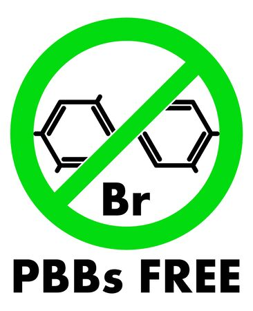 PBBs free icon. Polybrominated biphenyls chemical molecule and letters Br (chemical symbol for Bromine) in green crossed circle, with text under.