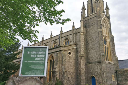 London, United Kingdom - April 27, 2020: Notice about church closed, advising people to pray