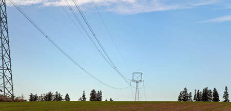 Tall steel power cable pylons supporting electricity cables over flat ground, some trees in distance