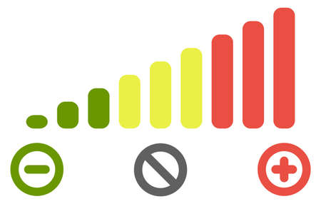 Volume level bars scale icon. Green to red colours, with minus for decrease, plus for increase and crossed circle for mute signs.