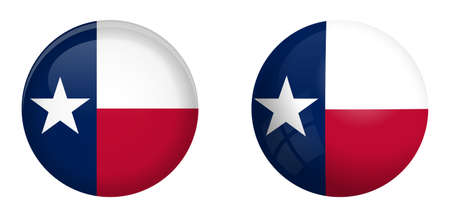 Texas lone star flag under 3d dome button and on glossy sphere / ball.