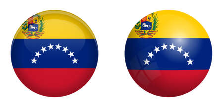 Bolivarian Republic of Venezuela flag under 3d dome button and on glossy sphere / ball.