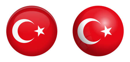 Turkey flag under 3d dome button and on glossy sphere / ball. Ilustrace