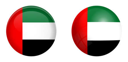 United Arab Emirates (UAE) flag under 3d dome button and on glossy sphere / ball.