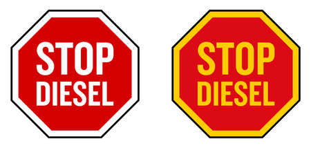 No diesel sign. STOP roadsign shape icon with text in it. White and yellow version.