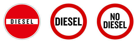 Diesel not allowed sign. Text in