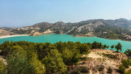 Gecitkoy (Dagdere) dam with turquoise water near Kyrenia, Northern Cyprus.