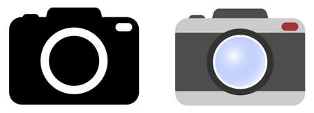 Simple camera symbol. Version with icon in black / white and color.