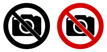 Photography not allowed sign. Camera icon in crossed circle. Black and red version.