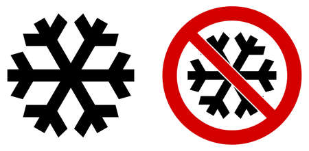 Simple black snowflake icon meaning winter / cold / freeze. Also version in red circle means