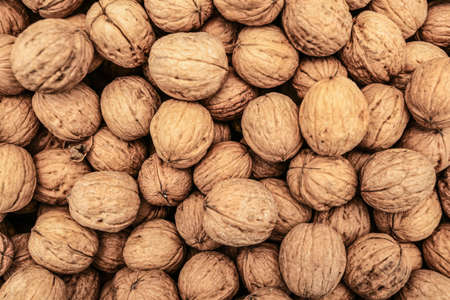Top down view, whole walnuts displayed on food market in Kyrenia, Cyprus.
