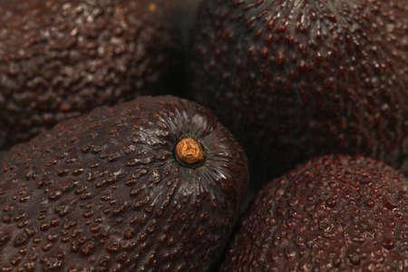 Closeup of dark ripe avocado skin.
