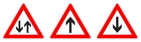 Warning - single/two way traffic sign. Black arrow in red triangle, version with arrow pointing up, down and both ways. 向量圖像