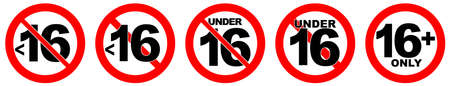 Under 16 not allowed sign. Number sixteen in red crossed circle.
