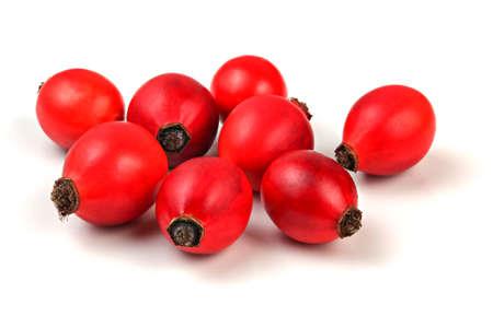 Rosehips (dog rose fruits) isolated on white background. 版權商用圖片