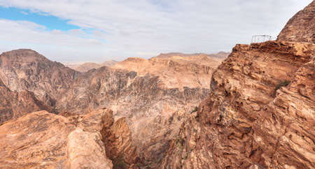View to rocky landscape from viewpoint near Ad Deir The Monastery in Petra, Jordan 版權商用圖片