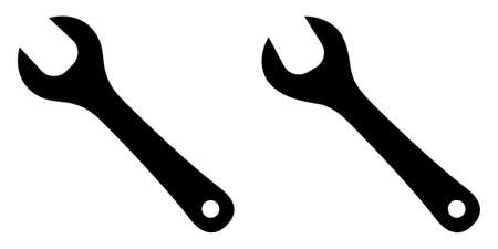 Simple one sided wrench ( spanner ) sign. Two versions, one slightly angled.