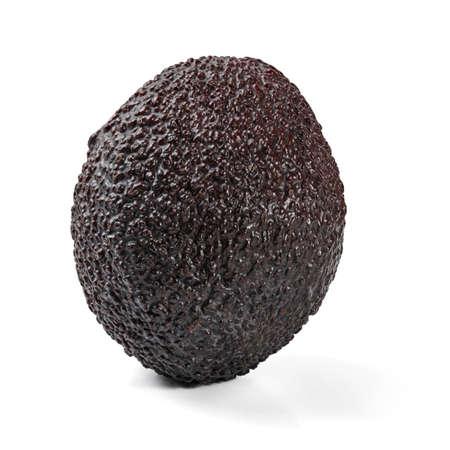 Single ripe dark brown (bilse variety) avocado isolated on white background Zdjęcie Seryjne