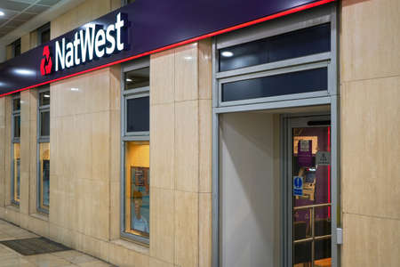 London, United Kingdom - February 03, 2019: Natwest branch inside Lewisham shopping centre. National Westminster Bank is considered one of Big four clearing banks in UK and was established in 1968