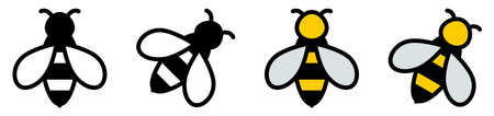 Simple bee icon, black / white and color version