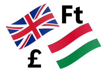 GBPHUF forex currency pair vector illustration. United Kingdom and Hungarian flag, with Pound and Forint symbol. Illusztráció