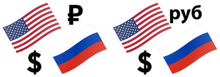 USDRUB forex currency pair vector illustration. American and Russian flag, with Dollar and Ruble symbol.