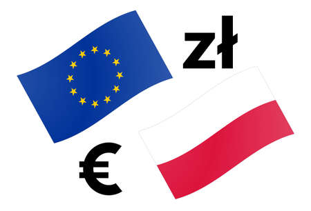 EURPLN forex currency pair vector illustration. EU and Polish flag, with Euro and Zloty symbol.