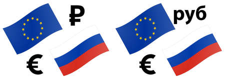 EURRUB forex currency pair vector illustration. EU and Russian flag, with Euro and Ruble symbol.