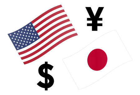 USDJPY forex currency pair vector illustration. American and Japanese flag, with Dollar and Yen symbol.