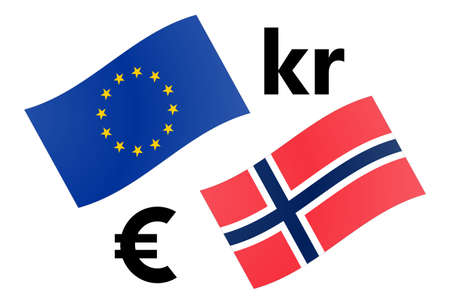 EURNOK forex currency pair vector illustration. EU and Norway flag, with Euro and Krone symbol.